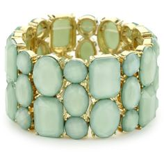 RAIN Mint Stretch Stone Bracelet ($72) ❤ liked on Polyvore featuring jewelry, bracelets, accessories, pulseras, pulseiras, mint jewelry, polished stone jewelry, stackers jewelry, stone jewellery and circle jewelry