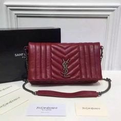 506ce3b22987 2016 A W Saint Laurent Foldover Clutch Bag in Burgundy Mixed Matelasse  Leather
