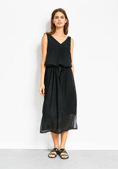"""A versatile lightweight dress for the warmer season in chic black with a textured pattern. For sunny city days wear with our Stella sandals and Frayed Crop Jacket. • Semi-fitted. Try your usual size. • Textured pattern. • Drawstring and elasticated waistband. • V-neck and sleeveless. • Midi length, sits mid calf depending on height, shorter length inner slip. • Model is 5'9"""" and wears size 10."""