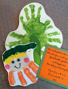 Handprint Shamrock and Leprechaun (pinned by Super Simple Songs) #educational #resources for #children #StPatricksDay