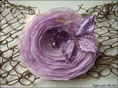 Wedding Hair Flower  Lavender Chiffon With by RainwaterStudios, $25.00
