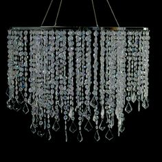 This stunning chandelier has brilliant crystals that dance in the light. Make it even more dramatic with the addition of our 10 inch matching chandelier. The top is 24 inches in diameter The length. Christmas Chandelier, Modern Chandelier, Chandelier Lighting, Crystal Curtains, Event Decor Direct, Crystal Beads, Crystals, Tiny World, Crystal Decor