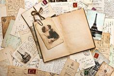 Vintage, vintage, cartões postais, cartas, selos, impressão, fotografia, casal, sépia, Torre eiffel wallpaper