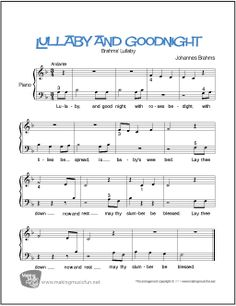 Lullaby and Goodnight (Brahms) - Free Beginner Piano Sheet Music Easy Piano Sheet Music, Guitar Sheet Music, Free Sheet Music, Piano Music, Piano Lessons, Music Lessons, Christmas Sheet Music, Bible Songs, Printable Sheet Music