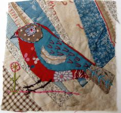 Unframed appliqued bird with embroidery on to vintage crazy quilt scrap -- postcard possibilities! Bird Applique, Bird Embroidery, Applique Quilts, Fabric Birds, Fabric Art, Fabric Scraps, Crazy Patchwork, Crazy Quilting, Hand Quilting