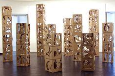 Cardboard cutout carton decoupe installation