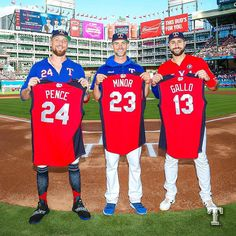 Hunter Pence, Mike Minor, and Joey Gallo, 2019 AL All-Star selections for the Texas Rangers Best Baseball Player, Better Baseball, Hunter Pence, Tent Wedding, Texas Rangers, All Star, Stars, Cowboys, Golf