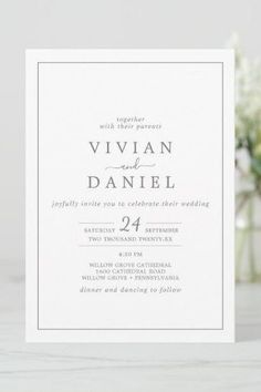 Minimalist Silver All In One Wedding Invite with classic silver gray and white typography paired with a vintage hand lettered calligraphy with rustic yet elegant style. Click to customize with your personalized details today. Beautiful Wedding Invitations, Elegant Wedding Invitations, Custom Invitations, Invitation Design, Invite, Simple Elegant Wedding, Simple Weddings, Stationery Paper, Colored Envelopes
