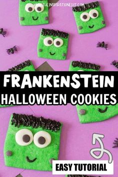 These Frankenstein Halloween cookies from the Inspiration Edit are amazing! If you need an easy dessert recipe to take to a Halloween party this year, then this is it! These cookies are so easy to make and taste amazing. Make them anytime this spooky season for a sweet treat! Halloween Art Projects, Halloween Crafts For Kids, Halloween Food For Party, Halloween School Treats, Halloween Cookies, Spirit Halloween, Boredom Busters For Kids, Bored Jar, Spooky Food
