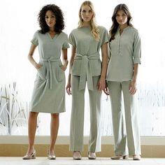 work ladies tunic, tunic, pants and dress - - Spa Uniform, Hotel Uniform, Uniform Dress, Long Dress Fashion, Work Fashion, Beauty Salon Uniform Ideas, Spa Outfit, Beauty Uniforms, Stylish Scrubs