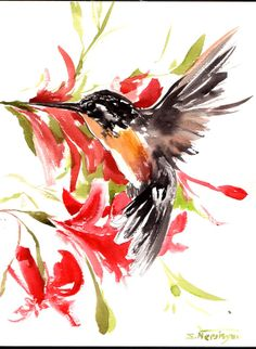 Flying hummingbird, original watercolor painting, Asian style watercolor art, original art, black red orange