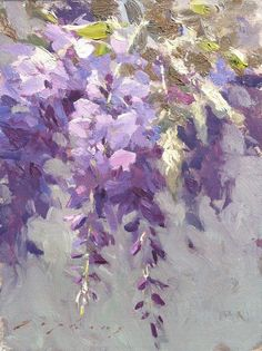 "American Legacy Fine Arts presents ""Wisteria from the Artist's Garden"" a painting by Jeremy Lipking. Watercolor Flowers, Watercolor Paintings, Watercolour, Art Moderne, Paintings I Love, Arte Floral, Wisteria, Painting Inspiration, Painting & Drawing"