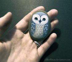 Blue Snow Owl - sketch 9 by JillHoffman on DeviantArt Painted Rocks Owls, Owl Rocks, Painted Stones, Pebble Painting, Pebble Art, Stone Painting, Stone Crafts, Rock Crafts, Owl Sketch