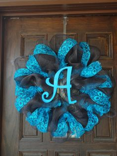 Turquoise & Brown Wreath w/ Initial