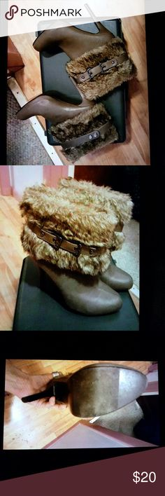 Like knew fur high heel boots as 8 Worn once cute fur buckle boots stelleto heel size 8 super cute Shoes Ankle Boots & Booties