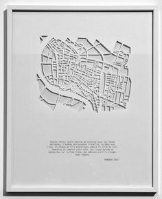 Les villes en creux (2010), by Armelle Caron. Cut out city maps. Bangkok Awesome figure ground plan for exhibitions and books. Haptic urban grain.