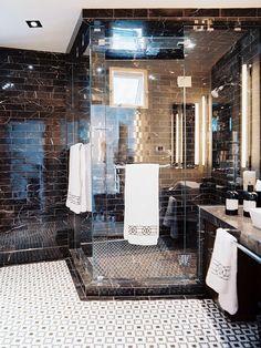 Contemporary Spa-Like Bathroom With Glass Shelves & Infinity-Edge Tub : Designers' Portfolio : HGTV - Home & Garden Television