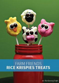 Farm Friends Rice Krispies Treats® are fun to make and decorate with your kids. They're the perfect after-school snack or packed lunch treat, and you can make any of your kids' favorite animals and they would be perfect for a farm themed birthday party!