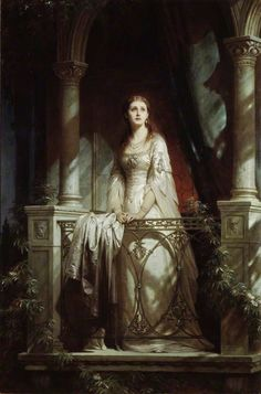 """Thomas Francis """"Frank"""" Dicksee 1819-1895 Juliet (1877) was a portrait, historical and genre painter with many subjects from Shakespeare. This portrait of Juliet was inspired by Shakespeare's play Romeo and Juliet. The painting is housed in the Sunderland Art Gallery in Sunderland, England."""