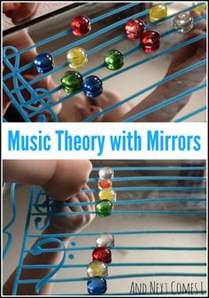 Music theory for kids using mirrors - I LOVE this idea as something different for kids to explore and to create with.  Genius.
