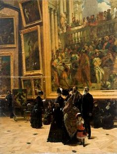 Louis Béroud - Au Salon Carre du Louvre, 1883