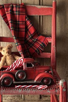 Old toy truck with teddy bear on red chair by Sandra Cunningham----Love the tartan! Tartan Christmas, Christmas Truck, Noel Christmas, Rustic Christmas, Winter Christmas, All Things Christmas, Vintage Christmas, Xmas, Christmas Vignette