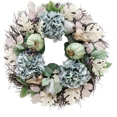 "24"" Blue Hydrangea and Pumpkin Handcrafted Floral Wreath ❤ liked on Polyvore featuring home, home decor, handmade wreaths, blue home decor, blue hydrangea wreath, handcrafted home decor and floral wreath"