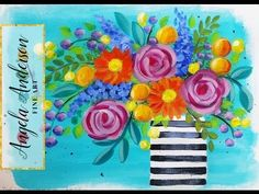 Impressionist Beginner Acrylic Painting | Bohemian Flower Vase LIVE Tutorial  | #CACFlowerArt - YouTube