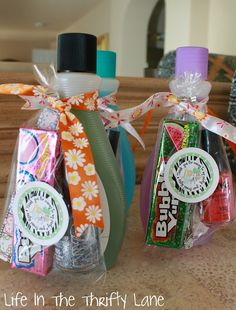 Is this cute or what i love it. For a boy you could use soda and put in other things in the bags that they like good if your a grandparent and need something for both genders