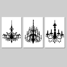 Modern Decor Black and White Chandelier Trio  Set of by Tessyla, $65.00