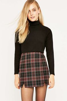 Urban Outfitters Notch Hem Check Skirt