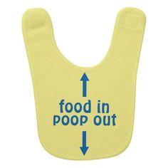 Food in poop out baby bib