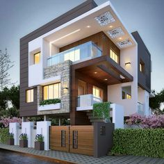 Top 10 cozy houses in the Modern style House Designs Exterior Cozy houses modern. - Top 10 cozy houses in the Modern style House Designs Exterior Cozy houses modern style Top - Duplex House Design, House Front Design, Architect Design House, 3 Storey House Design, Architecture Résidentielle, Architecture Geometric, Amazing Architecture, Chinese Architecture, Architecture Portfolio