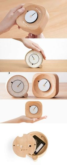 Wooden Desk Clock Art Deco style.,Handmade Wood Desk clock Made from Wooden and Metal
