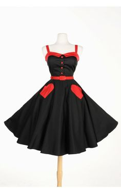 Pinup Couture Betsey Swing Dress in Black and Red | Pinup Girl Clothing