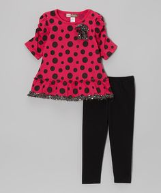 Love this Fuchsia Polka Dot Sequin Trim Tunic & Leggings - Toddler by Baby Ziggles on #zulily! #zulilyfinds