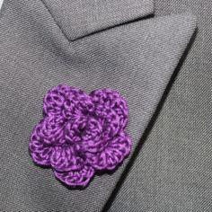 Crochet Mens Lapel Accent Flower Buttonhole by LittleMonkeyShop, $7.50