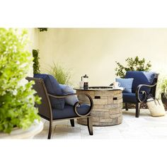 Shop allen + roth Sunbrella Canvas Navy Deep Seat Patio Chair Cushion at Lowes.com