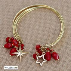 Make your own Scarlet Bangles with Bead Gallery beads #makeitwithmichaels #madewithmichaels #red #gold