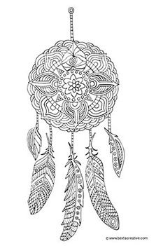 Instant Digital Download dream catcher coloring page by