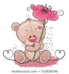 Illustration About Cute Cartoon Teddy Bear Girl With Pink Flowers