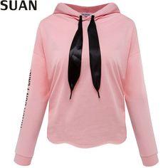 SUAN 2017 New Fashion Women T Shirts Hooded Long Sleeve O Neck Short Shirt Women's Clothing t-shirt Top Tees t-shirt female AAAA