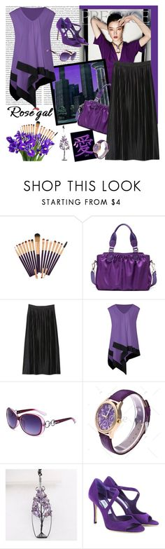"""""""ROSEGAL Plus Size Asymmetrical Longline Sleeveless T Shirt"""" by carola-corana ❤ liked on Polyvore featuring Oris, Vision and Jimmy Choo"""