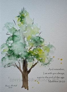 Oak tree watercolor painting. Green gold and brown with by ssbaud, $25.00