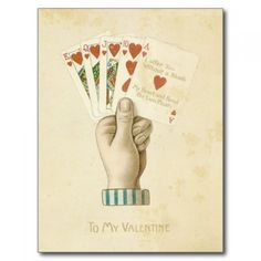 Vintage Valentines Day Poker Hand Red Hearts Love Postcards