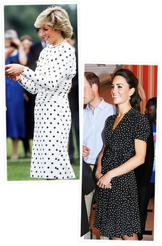 Princess Diana and Kate Middleton's Similar Style  Printed Dresses  In June 2011, the Duchess wore a black and white bird print dress by Issa at a reception at Ottawa's Rideau Hall, while Princess Diana also went casual in a long sleeve black and white polka dot dress years earlie