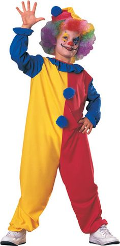 Fun Boys Clown Costume - This is a boy's clown costume. This is the classic clown look perfect for Halloween. This is a two piece costume with a jumpsuit and hat. The jumpsuit opens up from the collar in that back with Velcro. There is a ruffled clown collar and the suit is made of stretchy material. The cuffs of the sleeves and hem of the pants are elasticized. #clown #halloween #kids #children #yyc #calgary #costume
