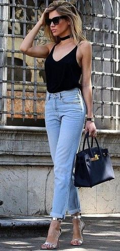 #summer #flawless #outfitideas | Black Tank + Denim