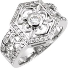121086 / 14kt White / RING / Polished / RIGHT HAND RING MOUNTING