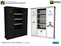 Cabinet in metal and wood that simulates to be the lockers of a gym, two options of color  Found in TSR Category 'Sims 4 Dressers'